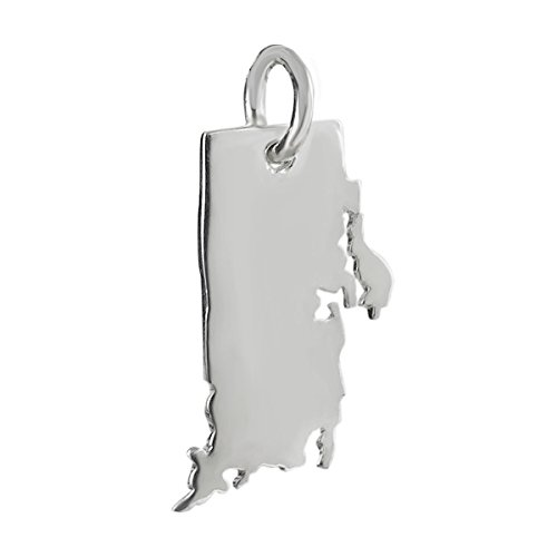 Rhode Island State Charm - 925 Sterling Silver Providence New England Tiny Jewelry Making Supply, Pendant, Charms, Bracelet, DIY Crafting by Wholesale Charms