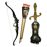 BUNITA,4PCS Toy Swords Role Play Game Imitate Shield Sword Bow and Arrow Toys for Kids Birthday Gift,toy bow and arrow