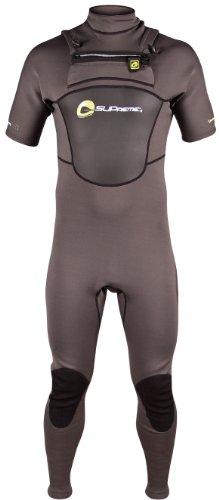 SUPreme Men's Blade Quantum Foam 1.5mm Neoprene Short Sleeve Fullsuit, Gray/Black, Medium