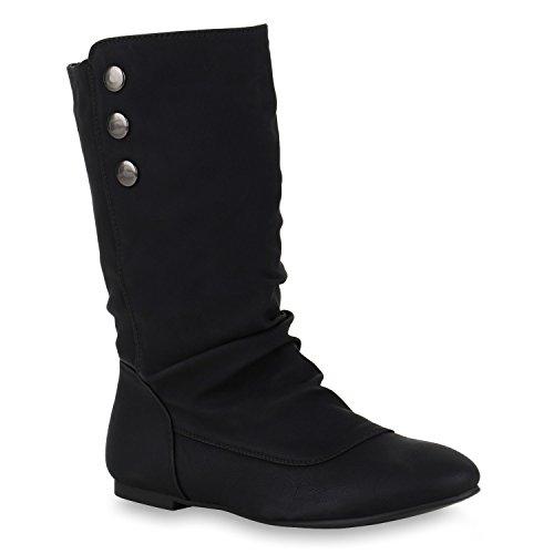 Damen Schlupfstiefel Leder-Optik Stiefeletten Flache Stiefel Boots Blockabsatz Schuhe Basic Design Damenschuhe Flandell Schwarz Avion