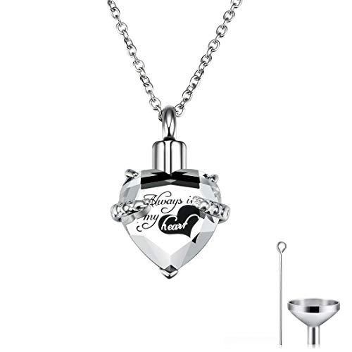 CAT EYE JEWELS Memorial Urn Necklace Always in My Heart Birthstone Keepsake with Funnel Kit Clear