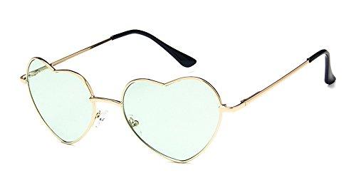 Forme Retro Cadre UV400 Femmes Lunettes Couleur XFentech Coeur Mode Les pour Gradient Transparent Vert Soleil de Or En CqEnIZw