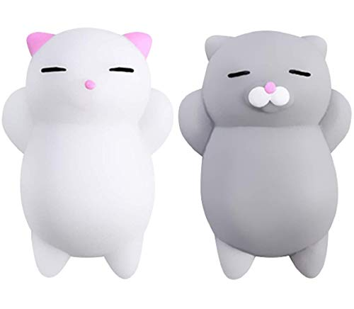Nutty Toys Squishy Cat Set – 2 Soft Silicone Kawaii Kitties, Top Stress Relief Sensory Gifts 2021, Unique Birthday Idea…