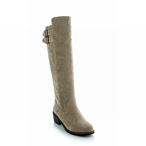 Carolbar Womens Multi-fibbia Moda Pull-on Casual Comfort Alti Stivali Tacco Medio Beige