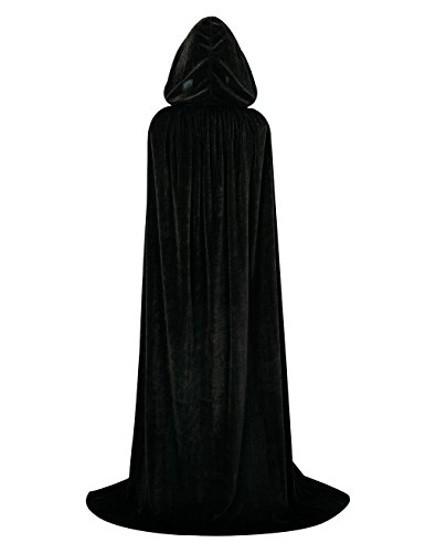 Hamour Unisex Velvet Halloween Cape Full Length Hooded Cloak Adult Costume, 59
