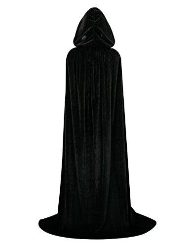 (Hamour Unisex Velvet Halloween Cape Full Length Hooded Cloak Adult Costume, 59