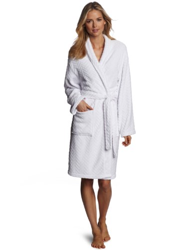 La La Spa Robe - Seven Apparel Hotel Spa Collection Herringbone Textured Plush Robe, Optic White