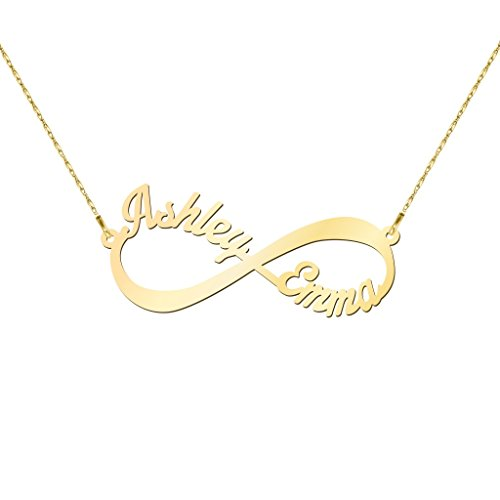 14K Yellow Gold Infinite Love Name Necklace with a 18