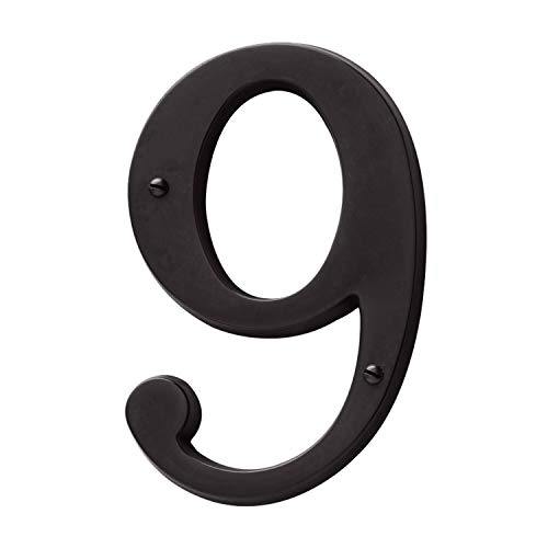 (Baldwin Estate 90679.102.CD Solid Brass Traditional House Number Nine in Oil Rubbed Bronze, 4.75