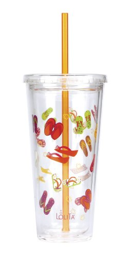"""C.R. Gibson 20oz Insulated Double-Walled Acrylic Tumbler With Lid And Straw, BPA-Free Acrylic, Measures 4"""" x 7.75"""" (without straw) - Flip Flops"""