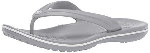 - Crocs Unisex Crocband Flip Flop, light grey/white 4 US Men/ 6 US Women M US