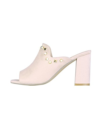 KRISP Women Ladies Low Block Heel Open Peep Toe Mules Slip On Sandals Shoes Size 3-8 Beige 5SvhFRlxaK