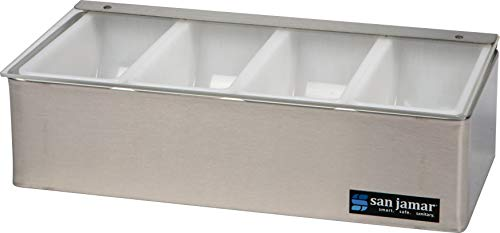 (San Jamar B4124L Stainless Steel Non-Chilled Garnish Tray with Plex Lid, 12-1/8