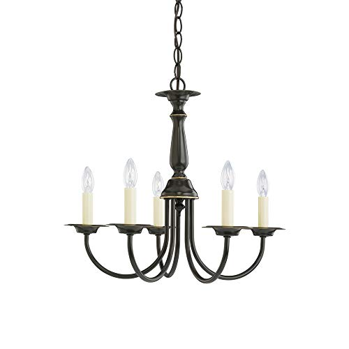 - Sea Gull Lighting 3916-782 Five-Light Traditional Chandelier, Heirloom Bronze Finish with Optional Shades
