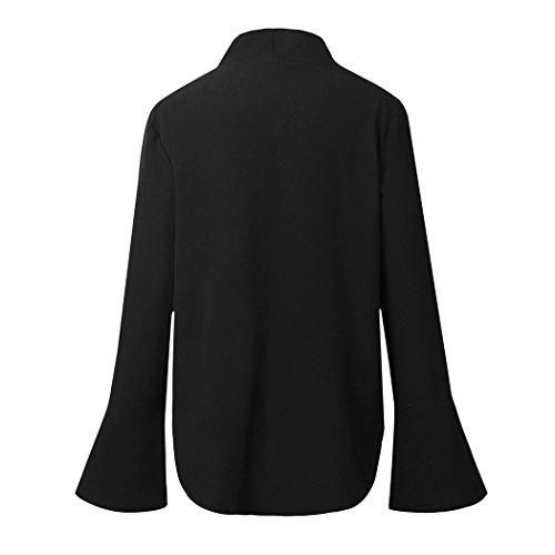 Boucles mioim en Femme dcontracte Noir lgant Deux Blouse Shirt Chemisier Printemps et Manches Chiffon n Travail Tops ud Tee Longues Cravate OL t rErd8wqx
