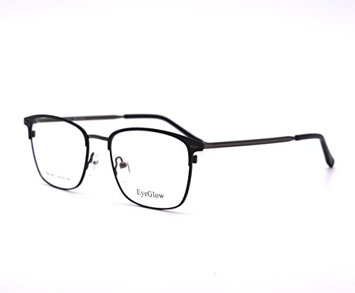 eyeglow rectangular eyeglasses frame prescription glasses frame with demo lens double plating egl7501 black grey
