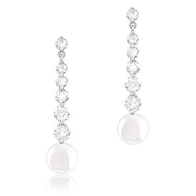 ORROUS & CO Shell Pearl 6 Graduated Cubic Zirconia Drop Earrings OR90706LCW