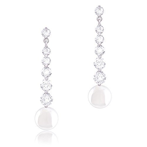 ORROUS & CO Womens 18K Gold Plated White Simulated Shell Pearl with 6 Graduated Cubic Zirconia Drop Earrings (9-9.5mm)