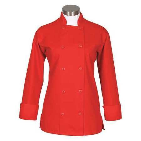 Button Red 10 Coat - Fame Fabrics 83191 C100P Long Sleeves, 10 Buttons Chef Coat, Women's Fit, Red, XL