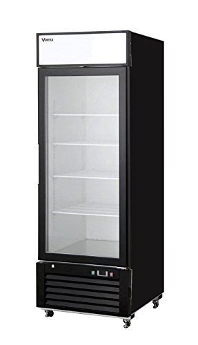 Vortex Refrigeration Commercial 1 Glass Door, Black Merchandiser Refrigerator - 23 Cu. Ft.