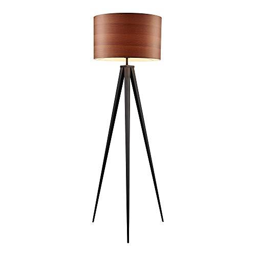 - Versanora VN-L00049 Hamilton Floor Lamp - Wood Grain Shade/Black Finished Leg,