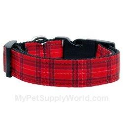 Dog Supplies Plaid Nylon Collar Red Medium, My Pet Supplies
