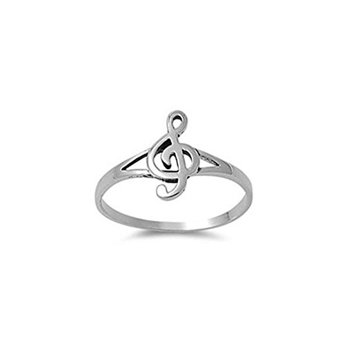 Noureda Sterling Silver Modish Music Note Ring with Face Height of 12MM