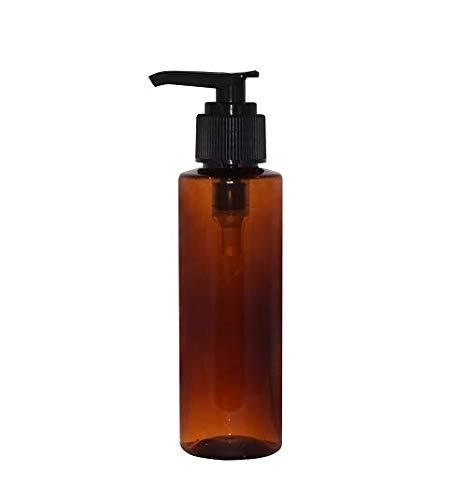 WM (Pack of 24) 4 oz Amber Refillable, Reusable Empty Plastic Cylinder Bottles w/Lotion Pump Cap - Mfg. USA DIY, Oils, Aromatherapy, Shampoo, Paint, Soap, Perfume, Moisturizer, Arts & Crafts, Juice