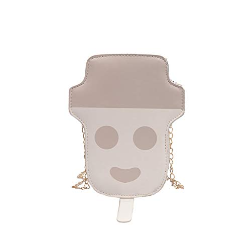 DZTZ Women Personality Wild Messenger Bag Chain Snowman Ice Cream Bag (Khaki)