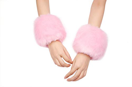 Women Faux Fur Short Wrist Cuffs Warmers Soft Furry Wrist Cover Clothes Sleeves Decoration (Faux Boot Sleeve Fur)