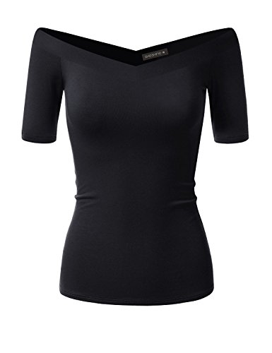 Women Short Sleeve Slim Fit Stretch Crop Top Off-Shoulder V Neck (Black Stretch Knit Top)