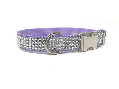 Big Pup Pet Fashion Purple, Lavender, Rhinestone Dog Collar, Girls, Female, Bling, Sparkly, Fancy, Designer, Glam (Small 3/4