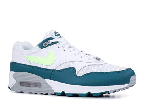 Nike Air Max 90/1 - Men's White/Lime Blast/Wolf Grey/Geode Teal Nylon Running Shoes 10.5 D(M) US (Nike Air Max 1)