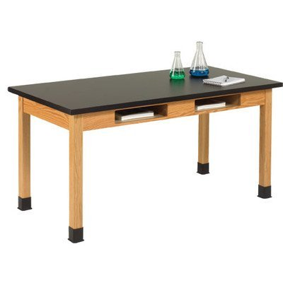 Diversified Woodcrafts C7304K30N UV Finish Solid Oak Wood Table with Book Compartment and Phenolic Resin Top, 72'' Width x 30'' Height x 24'' Depth, 500lbs Capacity by Diversified Woodcrafts