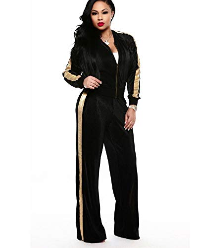 OLUOLIN Women Sweatshirts Long Sleeve Top and Long Pant 2 Piece Outfit Tracksuit Black ()