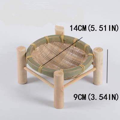 QHKS Fatto a mano di bambù tessuto cesto di frutta di vimini Cannuccia Cibi Pane Organizzatore Storage Cucina decorativo dono piccolo piatto piatto rotondo (Color : 19x11cm) 14x9cm