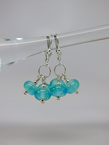 Ocean Green Artisan Dichroic Bead Triple Drop Earrings with Sterling Silver Leverback Ear Wires and Findings