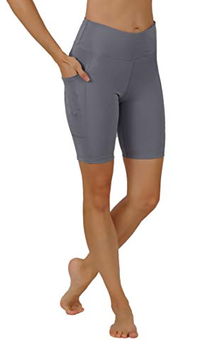 Pro Fit Yoga Pants Capri Leggings Shorts and Full Length Dry-Fit High Waist with Both Sides Pockets Workout Running Leggings (L USA 12-14, SH-D.Grey)