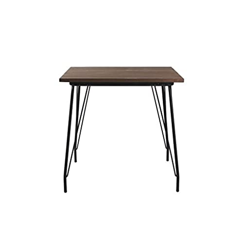 VIVA HOME Metal Dining Table With Elm Wood Top, Black