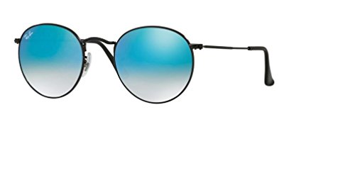 Ray Ban RB3447 ROUND METAL 002/4O 50M Shiny Black/Mirror Gradient Blue Sunglasses For Men For Women