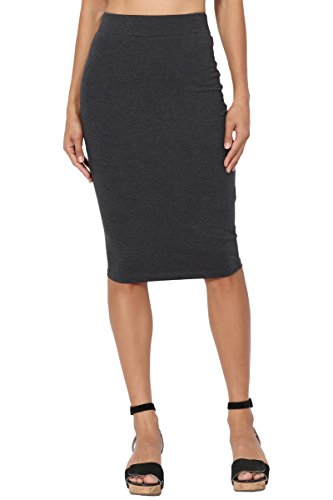 TheMogan Women's Stretch Cotton Elastic High Waist Pencil Midi Skirt Charcoal L ()