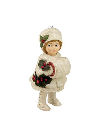 MISTLETOE MAZY Bethany Lowe Christmas Ornament - Little Girl with Hand Muff