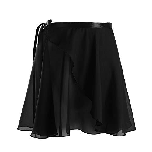YiZYiF Women Girls Ballet Dance Chiffon Skirt Wrap Over Scarf Dress with Waist Tie
