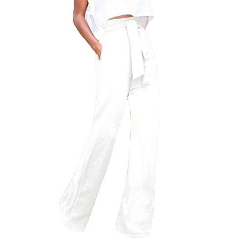 Modern Cravatta Baggy Dritti Semplice Farfalla Primaverile Larghi Lunga Anteriori Glamorous Alta Eleganti Inclusa A Vita Bianca Pantaloni Moda Cintura Tasche SUx8ngg1