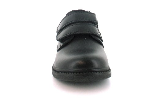 Jungen Kinder Schuhe Beschichtete Leder Doppel Klettverschluss Riemen Schuhe - Schwarz - EU 33 - 38 - Schwarz, Klettverschluss, 33