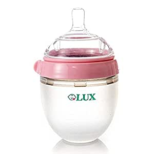 LUX Nature Baby bottle   Anti Colic Infant bottle   Silicone Breast-Like Baby bottle   Nursing bottle   BPA   No Leaking  by LUX Baby bottle (2, 5 oz) (Pink)