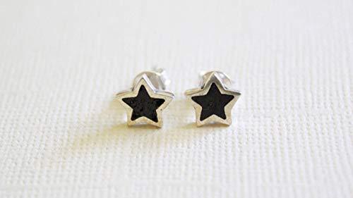 Star-shaped Black Onyx Micro Mosaic Sterling Silver Stud Earrings, Semi Precious Gemstone by Handmade Studio