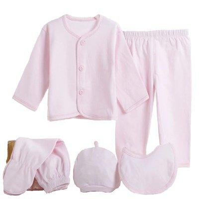 Sassy Smock Monogrammed Pink 5 Piece Knit Layette Set