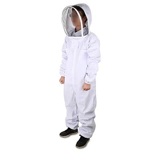 "DGCUS Professional Cotton Full Body Beekeeping Suit with Self Supporting Veil Hood(For Person No Taller than 5' 9"")"