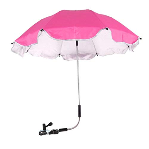 Baby Stroller Umbrella,Sunbona Baby Stroller Cover Parasol with Universal Clamp for Sun Rain Protection UV Rays Outdoor Umbrella (Hot Pink)